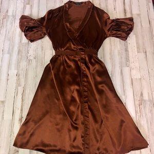 BCBGMaxAzria Bronze Brown Silk Wrap Dress